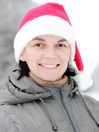 average age: Man in Santa Claus hat Stock Photo