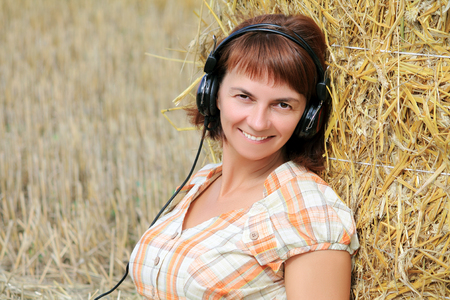 woman wearing headphones Stock Photo
