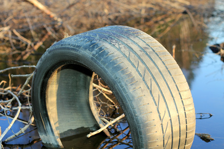 old tire on the roadside