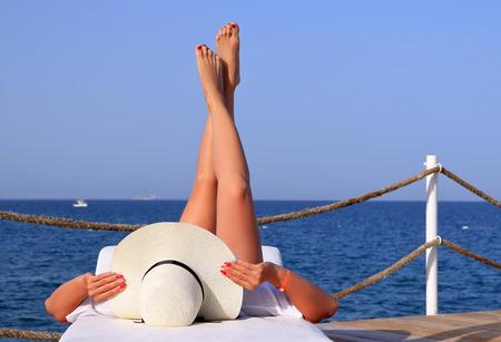 woman on the sea beach