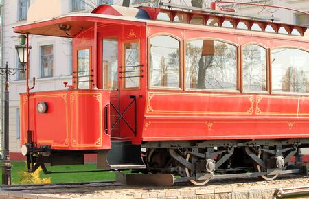 old red tram on a stand Banco de Imagens