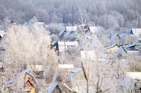 winter village in the snow