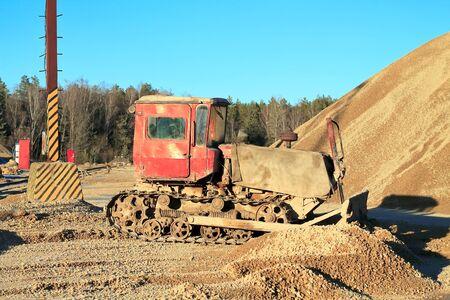 bulldozer works at a construction site Reklamní fotografie