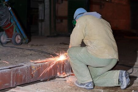 welder at night shift work Stok Fotoğraf