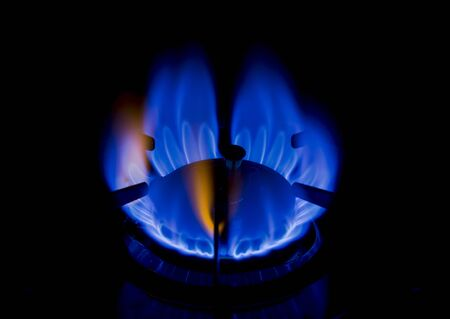 blue flame: Gas Stove Burner Blue Flame Stock Photo