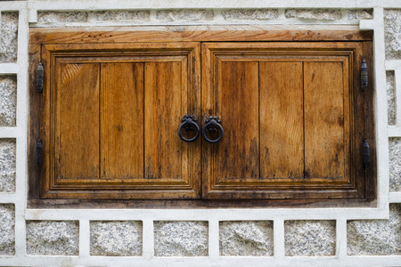 Traditional Korean style Wooden window and wall at Bukchon hanok Village  in Seoul, South Korea.