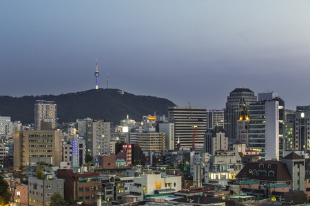 View of Seoul  at night located Naksan Park in Seoul,south Korea.