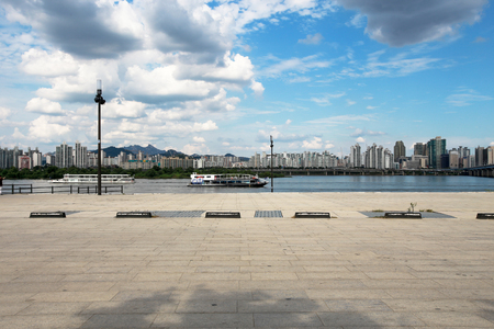 Seoul city and han river with blue sky white clouds in South Korea.