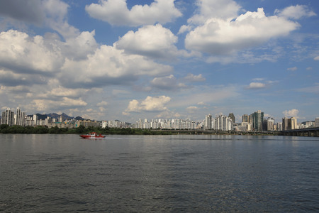 megacity: Seoul city and han river with blue sky white clouds in South Korea.