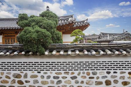 korean style house: Bukchon Hanok Village in Seoul, South Korea