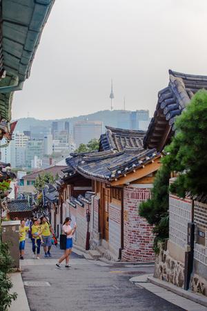 korean style house: SEOUL, SOUTH KOREA - AUGUST 16: Traditional Korean style architecture at Bukchon Hanok Village Photo taken on August 16, 2016 in Seoul, South Korea. Editorial