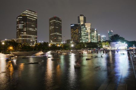 SEOUL, SOUTH KOREA - AUGUST15: Yeouido Hangang Park at Night in the summer Photo taken on AUGUST15, 2016  in Seoul,South Korea Editorial