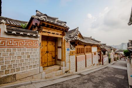 SEOUL, SOUTH KOREA - AUGUST 16: Traditional Korean style architecture at Bukchon Hanok Village Photo taken on August 16, 2016 in Seoul, South Korea. Editorial