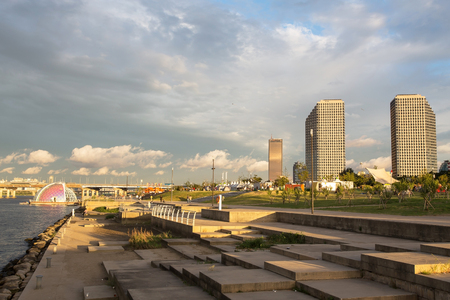 megacity: SEOUL, SOUTH KOREA - AUGUST 28: Sunset at Yeouido Hangang Park  Photo taken on AUGUST 28, 2016  in Seoul,South Korea
