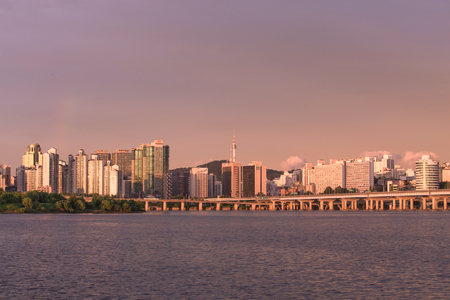 megacity: Sunset Seoul city and han river in South Korea. Stock Photo