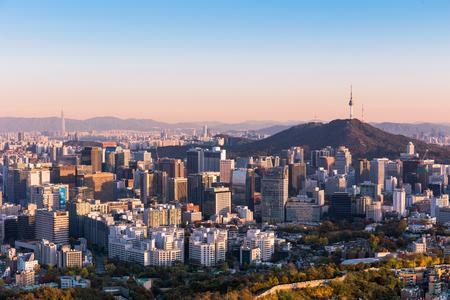 Seoul South Korea City Skyline at night with seoul tower. Stock Photo