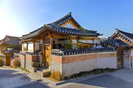 korean style house: Old House Traditional Korean style architecture at Bukchon Hanok Village in Seoul, South Korea.