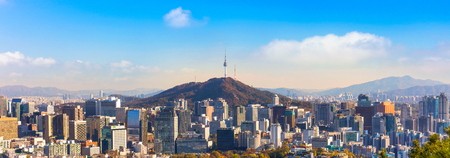 panorama view of  Seoul South Korea City Skyline with seoul tower. Stock Photo - 77668772