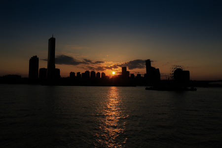 Sunset at Yeouido in Seoul, South Korea.