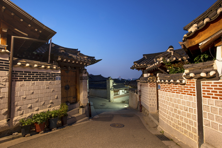 Korean style architecture at Bukchon Hanok Village at Night  Seoul, South Korea.