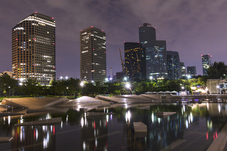 Seoul Yeouido Hangang Park at night in the summer South Korea. Stock Photo