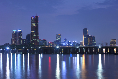 Seoul City Skyline and Han river at night.