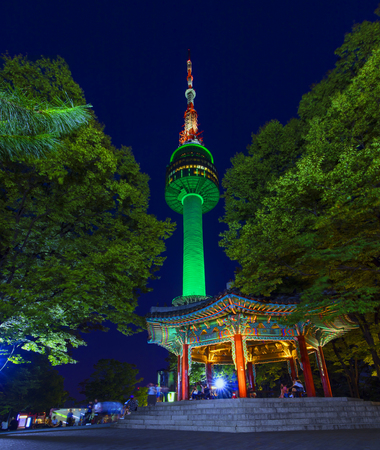 Seoul tower at night in Seoul, South Korea. Stock Photo