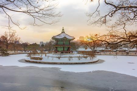 Hyangwonjeong Pavilion  in winter Seoul,South Korea.