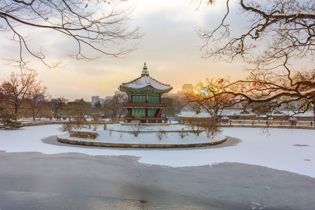 Hyangwonjeong Pavilion  in winter Seoul,South Korea.