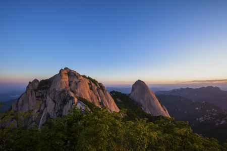 Sunrise at Bukhansan Mountain Seoul  South Korea