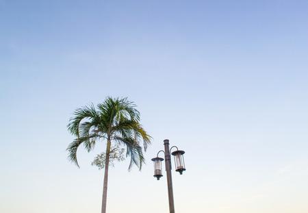 Lamp with fish undertakings morning sky  photo
