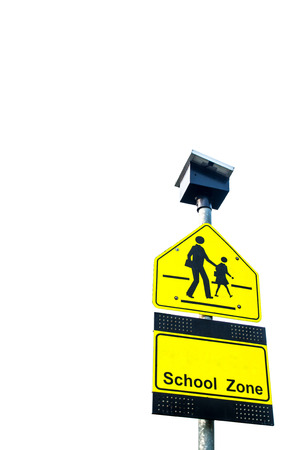Traffic sign  School warning sign  and blue sky  photo