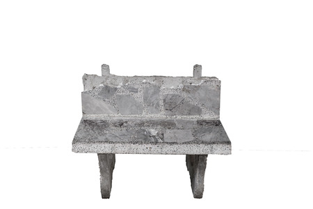 Cement gray old chair isolated on white background  photo