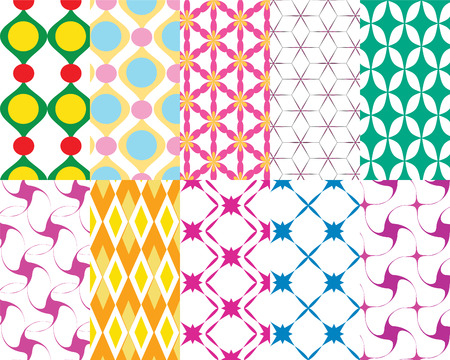 set of ten colorful  pattern background Vector
