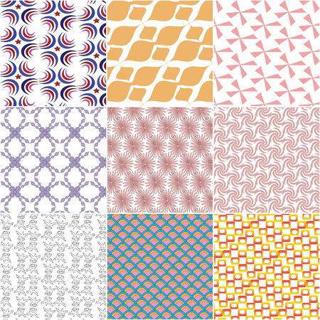 set of nine colorful  pattern  background Vector