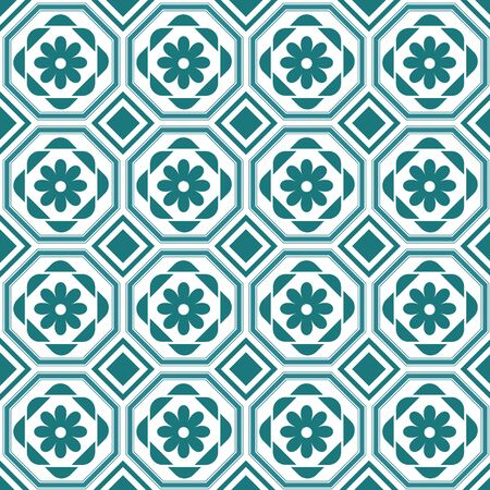 octagonal: retro octagonal pattern with floral elements pattern swatch included vector file can be change color and editing.