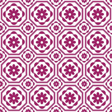 octagonal: retro octagonal pattern with floral elements, pattern swatch included, vector file can be change color and editing.