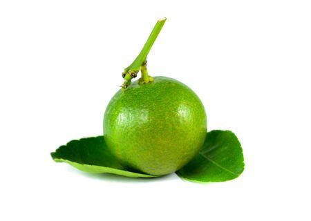 segmentar: Citrus segmento de fruta de la cal en el fondo blanco