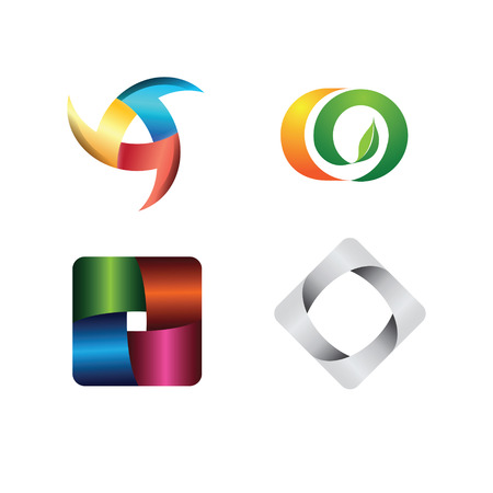 Abstract logo templates. Infinite shapes. Square icons set.