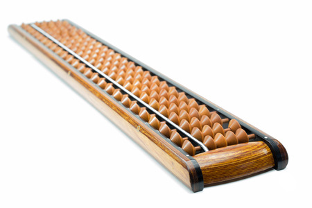 educational tools: Traditional wooden abacus isolated on white background