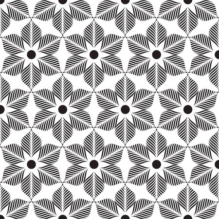 Black and white flower pattern, background vector.