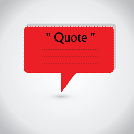 stock quote: Quote blank with text bubble. Quote box balloon. Commas, note, message, quote blank, template, text, marked, tag and comment. Vector stock element for design. Dialog box.