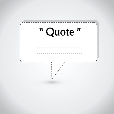 citing: Quote blank with text bubble. Quote box balloon. Commas, note, message, quote blank, template, text, marked, tag and comment. Vector stock element for design. Dialog box.