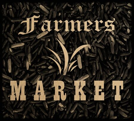 farmers market: Set of rice farmers market Badges collection