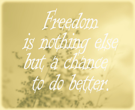 negativity: Inspirational Typographic Quote - Freedom is nothing else but a chance to do better With our negativity. Stock Photo