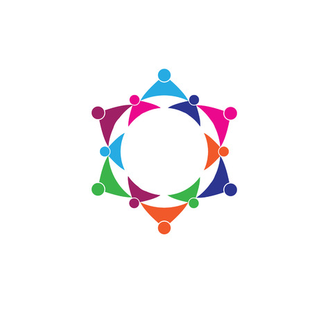 represents: 12 people icon. people friends logo concept vector icon. this icon also represents friendship, partnership cooperation unity,