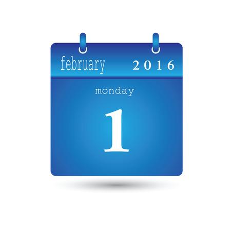 february 1: Vector calendar Illustration