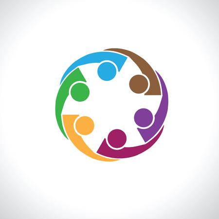 circulo de personas: seis personas icono. la gente amigos Concepto de la insignia del icono del vector. Este icono también representa la amistad, cooperación unidad de cooperación,