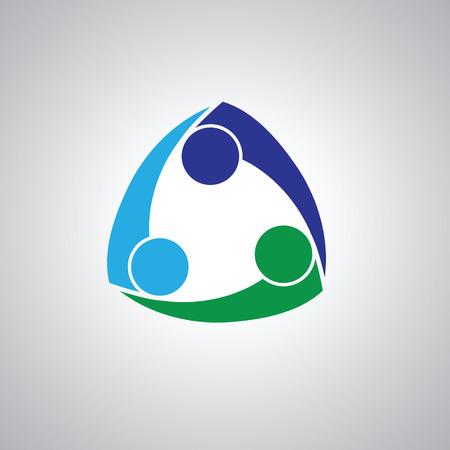 amicizia: tre persone icona. Persone Amici logo vettoriale concetto icona. Questa icona rappresenta anche amicizia, partenariato di cooperazione unità,