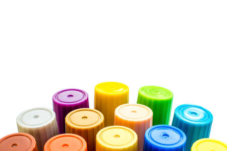 art supplies: Tube of paint . Art supplies set. Color tubes on white background.